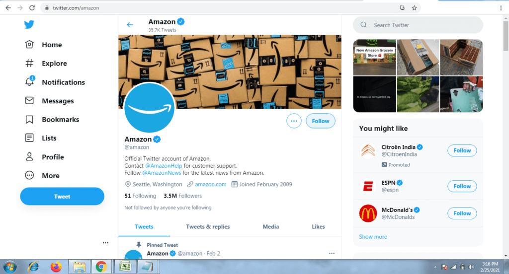 Amazon Twitter Account