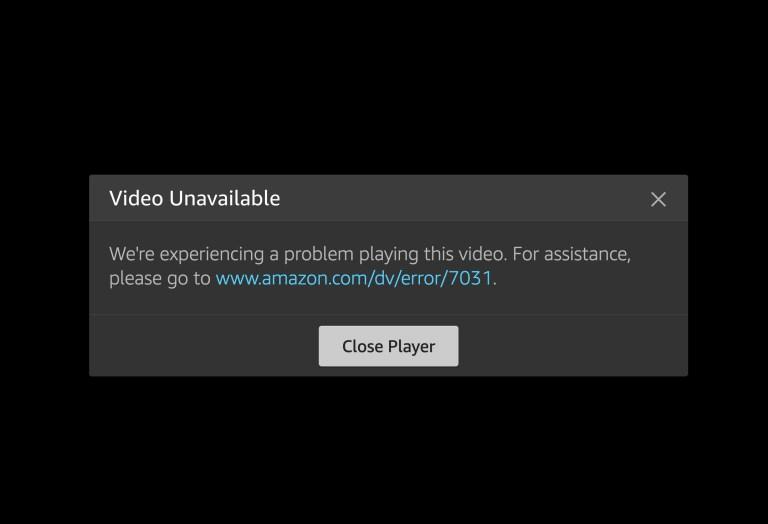 Amazon Prime Video Error 7031