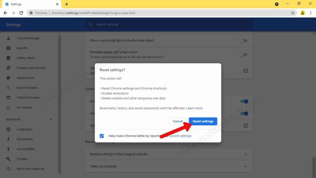 Reset Google Chrome (3)