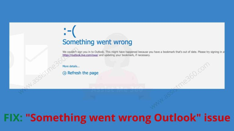 How to fix something went wrong outlook