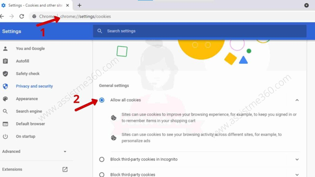 Steps to allow cookies on Chrome