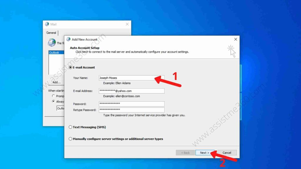Steps to create new profile on Outlook (5)