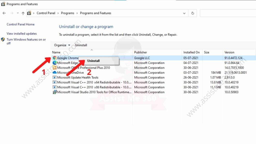 Steps to uninstall Chrome (3)