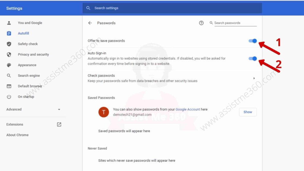 Steps to fix save password option on Chrome (2)