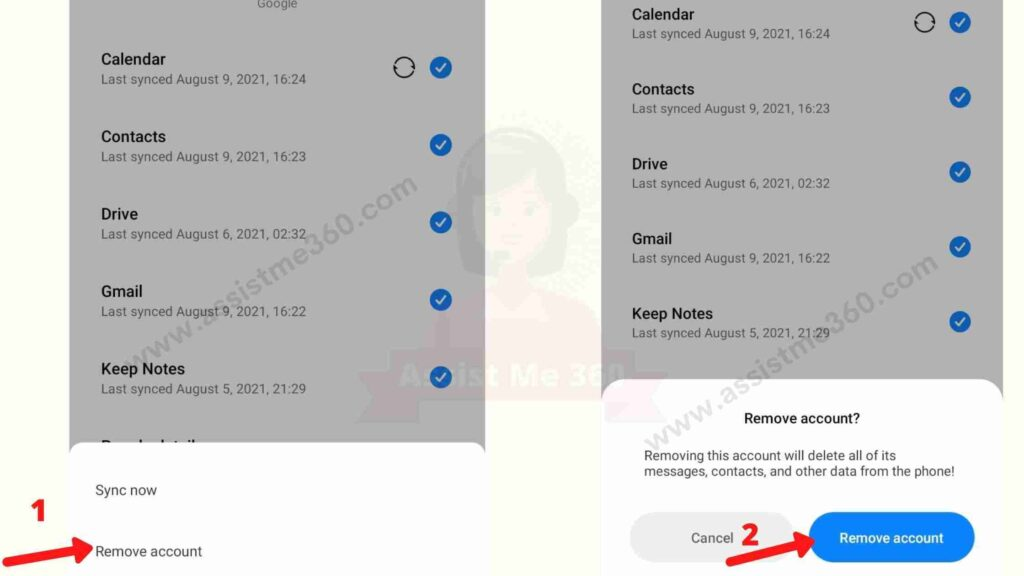 Steps to sign out gmail from android device (3)
