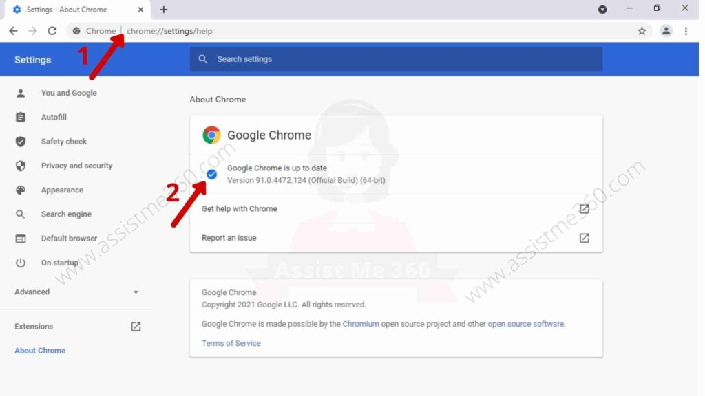 steps to update Chrome browser